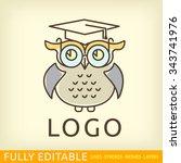owl. template of logo. line... | Shutterstock .eps vector #343741976