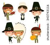 thanksgiving kids. cute native... | Shutterstock .eps vector #343743116