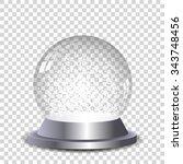 crystal snow globe transparent... | Shutterstock .eps vector #343748456