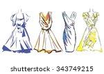 fashion sketch set  look  women ...   Shutterstock .eps vector #343749215