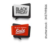 Black Friday Sale vector banner set. Nice plastic cards in material design style. Transparent black, white and red paper. | Shutterstock vector #343749866