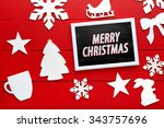 beautiful wooden christmas... | Shutterstock . vector #343757696