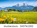 idyllic landscape in the alps... | Shutterstock . vector #343761302
