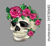 skull with flowers | Shutterstock . vector #343780682