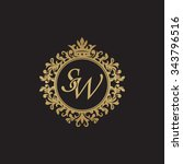 sw initial luxury ornament... | Shutterstock .eps vector #343796516