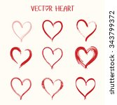 set of  vector heart icon.... | Shutterstock .eps vector #343799372
