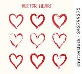 set of  vector heart icon.... | Shutterstock .eps vector #343799375