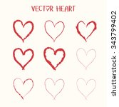 set of  vector heart icon.... | Shutterstock .eps vector #343799402