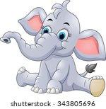 adorable baby elephant sit | Shutterstock .eps vector #343805696