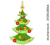 beautiful cartoon christmas... | Shutterstock .eps vector #343818866