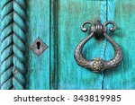 Old Wooden Turquoise Door With...