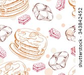 seamless pattern with desserts. ... | Shutterstock .eps vector #343842452