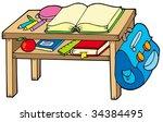 school table on white... | Shutterstock .eps vector #34384495