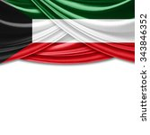 kuwait   flag of silk with... | Shutterstock . vector #343846352