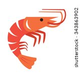 vector color prawn icon on... | Shutterstock .eps vector #343863902
