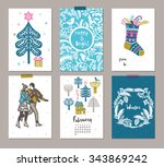 collection of 6 christmas card... | Shutterstock .eps vector #343869242