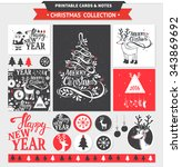 hipster new year and merry... | Shutterstock .eps vector #343869692