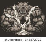 angry dog bodybuilder | Shutterstock .eps vector #343872722