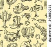 wild west seamless pattern with ...   Shutterstock .eps vector #343880336