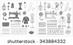 illustration of vintage sewing... | Shutterstock .eps vector #343884332