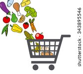 shopping cart with food | Shutterstock .eps vector #343895546