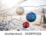 christmas decorations hanging... | Shutterstock . vector #343899206