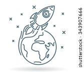 concept space rocket fly around ... | Shutterstock .eps vector #343907666