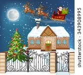 merry christmas card.... | Shutterstock .eps vector #343908995