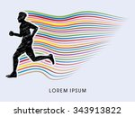 man running  marathon designed... | Shutterstock .eps vector #343913822