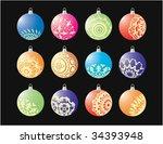 christmas balls | Shutterstock .eps vector #34393948