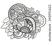 abstract vector hand drawn... | Shutterstock .eps vector #343951622