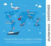 vector flat global... | Shutterstock .eps vector #343955405