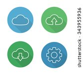 cloud hosting flat linear icons ...