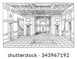 atrium of the house of sallust  ... | Shutterstock .eps vector #343967192