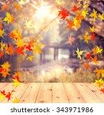 Autumn Background. Wooden Tabl...