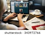 video call facetime chatting... | Shutterstock . vector #343972766