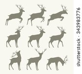 christmas reindeer silhouettes | Shutterstock .eps vector #343983776