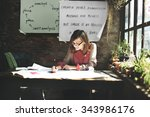 architecture woman working blue ... | Shutterstock . vector #343986176