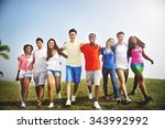 group friends outdoors diversed ... | Shutterstock . vector #343992992
