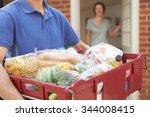 driver delivering online... | Shutterstock . vector #344008415