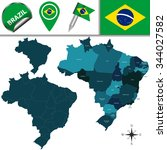 vector map of brazil with named ... | Shutterstock .eps vector #344027582