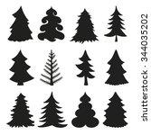 christmas tree set.black...   Shutterstock .eps vector #344035202