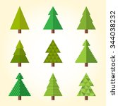 christmas tree icons set | Shutterstock .eps vector #344038232
