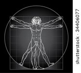 the vitruvian man  or so called ... | Shutterstock .eps vector #34406077