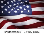 closeup of ruffled american flag | Shutterstock . vector #344071802