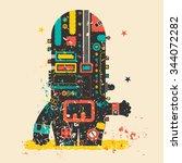 cute monster on retro grunge... | Shutterstock .eps vector #344072282