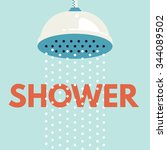 shower head in bathroom with... | Shutterstock .eps vector #344089502