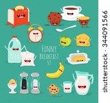 funny breakfast set. comic...   Shutterstock .eps vector #344091566
