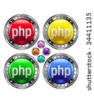 php file extension icon on... | Shutterstock .eps vector #34411135