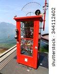 Small photo of MONTREUX, SWITZERLAND - 9 JUNE, 2014: ALLO CLAUDE art installation by Pascal Bettex at Quai de la Rouvenaz near statute of Freddie Mercury, on banks of Lake Geneva, Montreux, Switzerland
